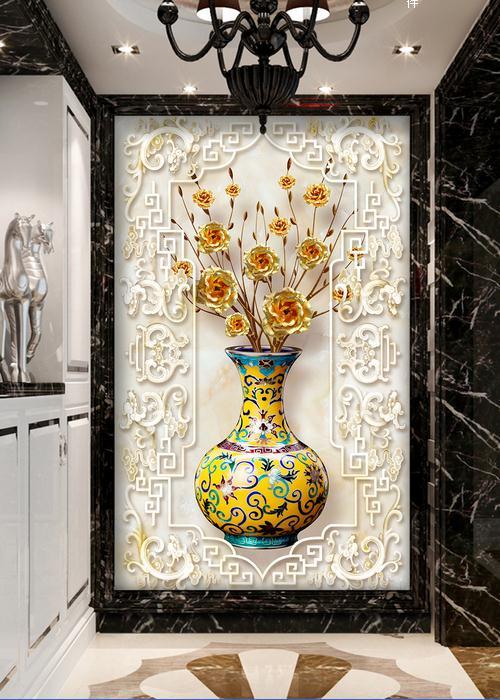 浮雕玄关背景墙极品发财树花瓶玫瑰玄关过道背景墙