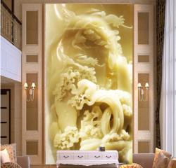 高清玉雕山水浮雕客厅玄关背景墙