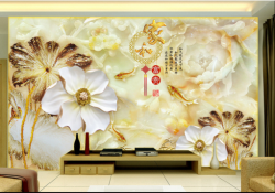 玉雕电视背景墙九鱼富贵图