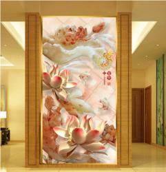 玉雕荷花家和富贵玄关壁画