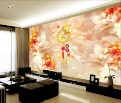 玉雕秋菊家和富贵电视背景墙