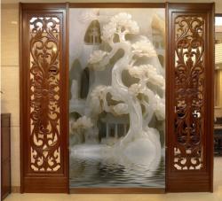 玉雕山水壁画玄关背景墙